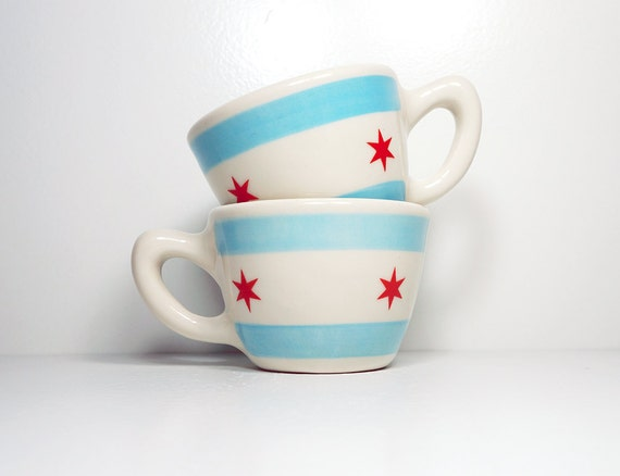 one (1) super-awesome chicago flag 12oz cup/mug. Made to Order.