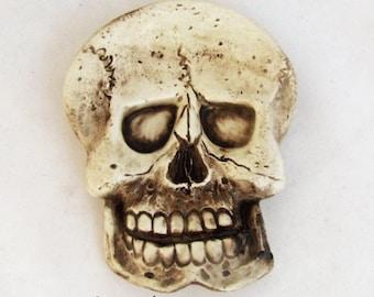 Aged Human Skeleton Skull Ceramic Tea Bag Holder Spoon Rest Desk Accessory Pirate Skull Ware