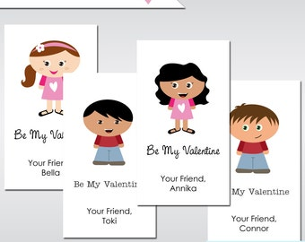 SMALL Kidlet PRINTABLE Personalized Valentines Custom Valentine Cards Made to Look Like Your Child