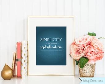 Simplicity Printable Wall Art by BitsyCreations INSTANT Download Leonardo Da Vinci Quote