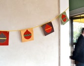 Christmas Garland Ornaments Felt Rick Rack Rustic Holiday Decor / Bunting Banner