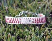 Customized Baseball Mom Jewelry leather baseball stitch seam bracelet - Copper, brass, silver stamped adjustable clasp - recycled baseball