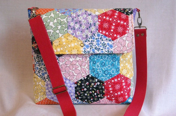 Quilted Messenger Bag 13.5x12.5 Hexagon Quilt by IVANandLUCY