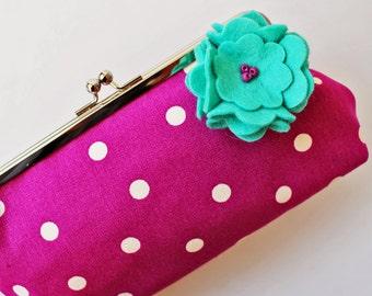 Magenta polka dot clutch purse with sea green flower pin kiss lock purse frame purse metal clasp purse pink purple white dots flower brooch