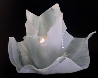 Vase Candle Set - White Pearl Opal Vase and Dish with Free Spring Rain Soy, Paraffin Wax Blend, Paper Core, Self-trimming Wick Candle