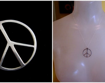 Vintage Sterling Silver Peace Sign Necklace
