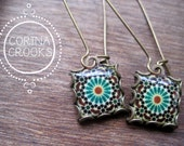 Moroccan earrings, islamic jewelry, dangle earrings, Moroccan jewelry, Tribal Earrings, Muslim jewelry, Middle East, Islamic tile design