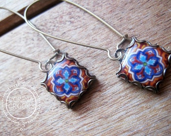 Bohemian jewelry, Mexican tile earrings, Mexican tile design, drop earrings, Southwestern, Mexican tile pattern, Talavera pottery design