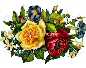 """Rose Flower Applique 5"""" x 7"""" Quilt Panel, Fabric Quilt Block Panel Quilting, Sewing, Craft Projects"""