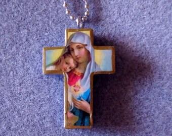 Virgin Mary Jesus Sacred Immaculate Heart Catholic Cross Necklace VM1