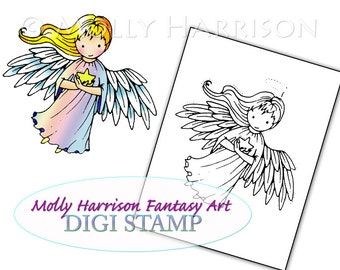 Little Star Angel - Digital Stamp - Printable - Angels - Molly Harrison Fantasy Art - Digi Stamp Coloring Page - Instant Download