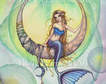 Cobalt Moon - Mystical Meramid Fine Art Giclee Print of Original Painting - Molly Harrison Fantasy Art - 5 x 7