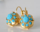 Swarovski Turquoise Cushion Cut Gold or Silver Leverback Earrings