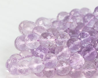 Pink-Purple Amethyst Round Faceted Bead Strand, 7.5in Strand  - 9mm - Pink-Purple AAA quality Micro Faceted Gemstone- Item 259