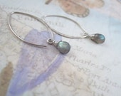 Gray Labradorite Gemstone Earrings, Sterling Silver, Marquise
