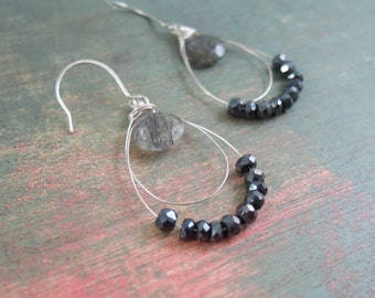 Black Gemstone Earrings, Sterling Silver, Spinel, Tourmalinated Quartz, Wire