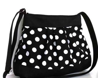 Messenger bag  Women vgan purse  Polka dot purse  Fabric bag  Crossbody bag  Black  shoulder bag Casual every day bag  Black cross over bag