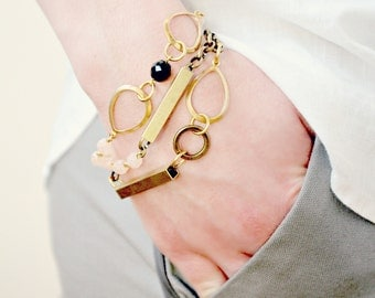 Set of Three Mix and Match Layering Blush and Brass Modern Bracelets