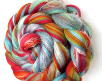 Candy Twist Custom Blend Merino and Silk Combed Wool Top
