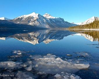 Iceberg, Lake McDonald, Montana Landscape, Icebergs, Montana Winter Landscape, Photograph or Greeting card