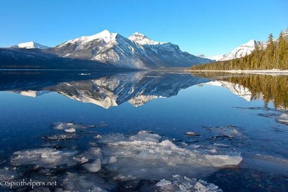 Floating Ice, Lake McDonald, Montana Landscape, Icebergs, Montana Winter Landscape, Photograph or Greeting card