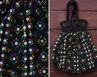 BEADED 1960's 70's Vintage Large Black Corduroy Purse with Handles // Colorful
