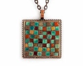 Chocolate Mint Patchwork - Micro Mosaic Art Jewelry Pendant Made with Tiny Ceramic Tiles