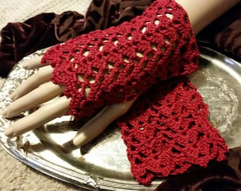 Lace Crochet Fingerless Gloves Victorian Steampunk Vampire Scarlet Red