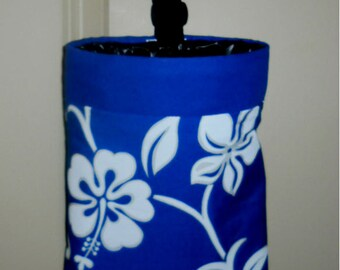 Auto Trash Bag,  Car Litter Bag, Blue Tropical with border