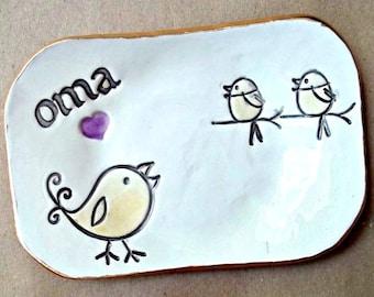 OMA Trinket  Dish 2 birdies  Mothers day
