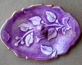 Ceramic  Ring Holder Purple Vine edged in gold  3 1/4 inches long
