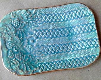 Ceramic Sea Green Dish Soap Dish