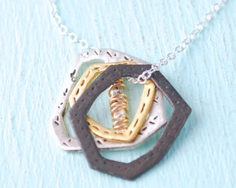 Layered Gold Bar Mixed Textured Layered Necklace Inspired Pendant Necklace Handcrafted by Chocolate and Steel eco-friendly