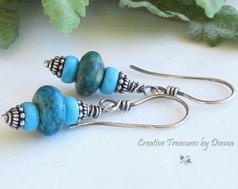 Chrysocolla Gemstones Turquoise Czech Glass Beads Sterling Silver Earrings