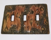 Bark of a tree triple toggle light switch cover, wood look decorative cover