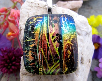 SALE Dichroic Glass Pendant, Autumn Fantasy, Fused Dichroic Glass Jewelry, uniquedichroic