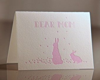 Letterpress Bunny Mom Card