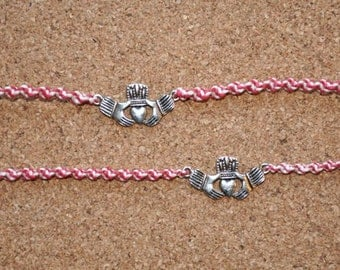 Peppermint and Silver Claddagh Tie Ons