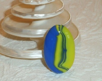 Blue and Yellow Swirl Fused Glass Silver Plated Adjustable Ring