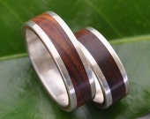 Lados Nambaro Cocobolo Wood Ring - recycled sterling silver and sustainable wood wedding band, mens wood ring, women's wooden ring