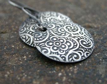 textured sterling silver earrings, disc earrings, round earrings, sterling silver earrings, pattern earrings, embossed earrings