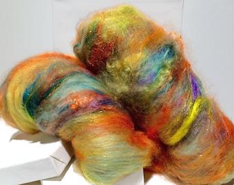 "fiber art batt, felting wool, spinning fiber, roving PHAT Fiber ""Radioactive"" yellow lime mint green teal orange purple coral salmon aqua"