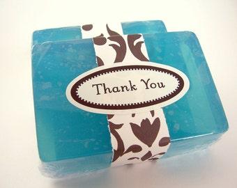 12 Thank You Soaps, shower favors, party favors, wedding favors