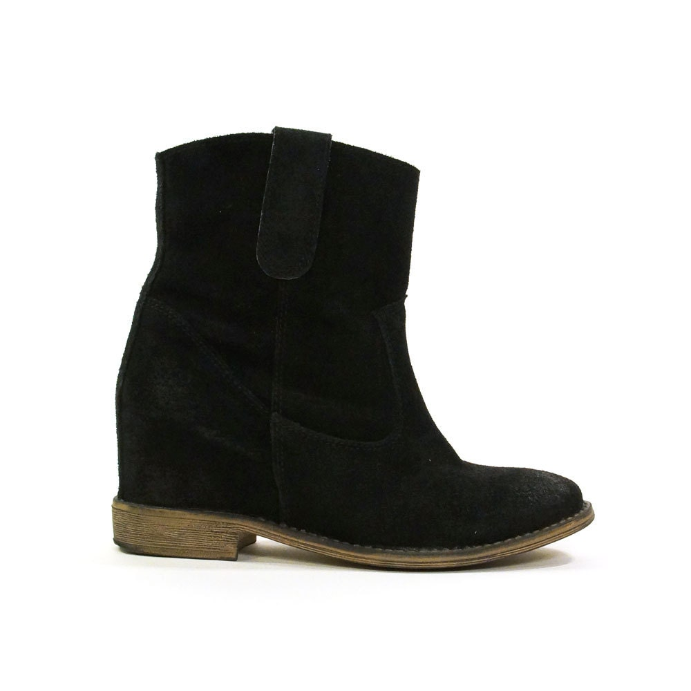 black suede motorcycle boots with wedge by spunkvintage