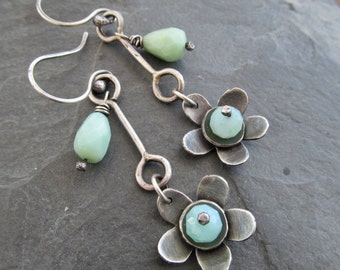 Silver Dangling Earrings Long Flower Earrings Robins Egg Blue Peruvian Opal Daisy Earrings