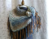 The Road Trip Scarf - Handknit Scarf with Fringe - Shawl - Made To Order