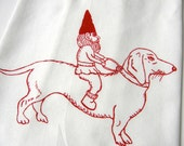 Dachshund & Gnome Kitchen Tea Towel-Hand Screen Printed-Cotton Flour Sack-Dish Towel-Hostess Gift-Teachers Gift, Dog Lover