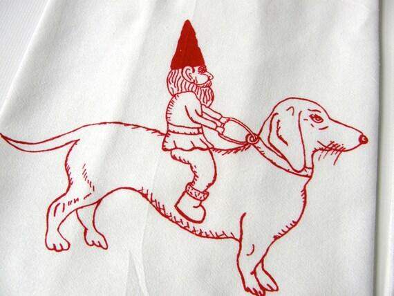 Dachshund & Gnome Tea Towel-Hand Screen Printed-Cotton Flour Sack-Dish Towel-Hostess Gift-Teachers Gift, Dog Lover