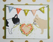 Mother's Day #1 Mom Heart Roses Floral French BullDogs Flag Garland Blank Note Card with Envelope