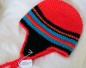 Earflap Hat Red,Black, Blue and Orange Size 12 - 24 months Hand  Crochet  Ready to Ship